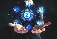 Zcash cryptocurrency ochrony temat z biznesmenem fotografia royalty free