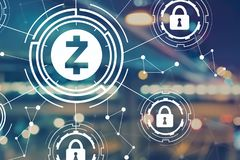 Zcash cryptocurrency security theme with blurred city lights Stock Photos