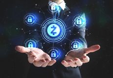 Zcash cryptocurrency security theme with businessman royalty free stock photography
