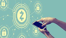 Zcash cryptocurrency security theme with person holding smartphone royalty free illustration