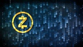 Zcash - Logol op Digitale Achtergrond Stock Foto