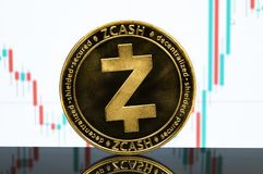 Zcash is a modern way of exchange and this crypto currency. Is a convenient means of payment in the financial and web markets royalty free stock image