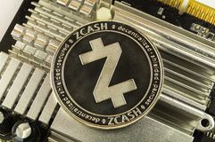 Zcash is a modern way of exchange and this crypto currency. Is a convenient means of payment in the financial and web markets stock photo