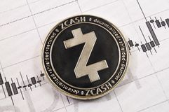 Zcash is a modern way of exchange and this crypto currency. Is a convenient means of payment in the financial and web markets stock images