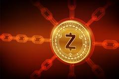 Zcash Moneda Crypto Cadena de bloque moneda física isométrica de 3D Zcash con la cadena del wireframe Concepto de Blockchain Cryp libre illustration