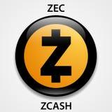 Zcash monety cryptocurrency blockchain ikona Wirtualny elektroniczny, internet pieniądze, lub cryptocoin symbol, logo royalty ilustracja