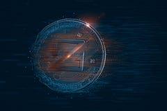 Zcoin数字货币 3d例证 包含裁减路线 库存照片