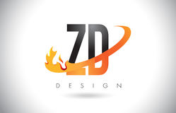 ZD Z D Letter Logo with Fire Flames Design and Orange Swoosh. Stock Photos