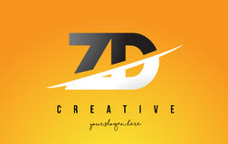 ZD Z D Letter Modern Logo Design with Yellow Background and Swoo Stock Photography