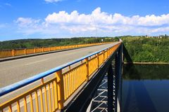 Zdakovkov bridge over the dam Orlik Royalty Free Stock Photos