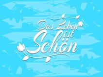 Zdaniowy życie jest piękny w niemiec ilustracja wektor