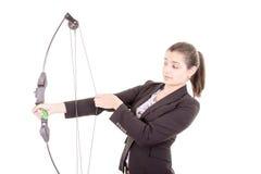 Zdecydowana fachowa biurowa kobiety łuczniczka Zdjęcie Stock
