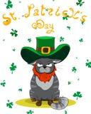 Zdegustowany koloru kot ubierający jako leprechaun Plakata St Patrick ` s dzień również zwrócić corel ilustracji wektora Zdjęcia Royalty Free
