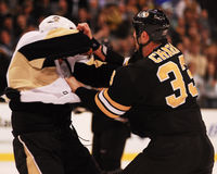 Zdeno Chara fights Mike Rupp Royalty Free Stock Photo