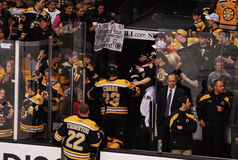 Zdeno Chara greeted by fans. Royalty Free Stock Photography