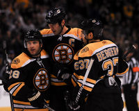 Zdeno Chara, Mark Recchi and Patrice Bergeron, Boston Bruins Royalty Free Stock Photography