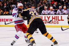Zdeno Chara pushes Marian Gaborik Stock Photography