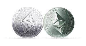 Zderzenie Ethereum i Ethereum klasyk monety odizolowywać na białym tle z kopii przestrzenią royalty ilustracja
