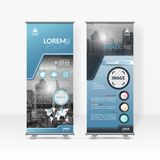 Business roll up design template, X-stand, Vertical flag-banner design layout, standee display promoting royalty free stock image