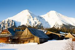 Zdiar and Belianske Tatry & x28;Belianske Tatras& x29; in winter, Slovakia. Outdoors, outside, exteriors, europe, eastern, republic, czechoslovakia, tatransky royalty free stock photography