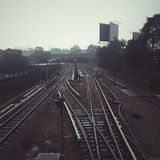 zdjęcie punktu kolejowej zniknąć sepiowy drogi ton Zdjęcie Royalty Free