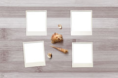 Zdjęcie szablony układali na nieociosanym drewnianym tle z seashells wokoło Zdjęcia Royalty Free
