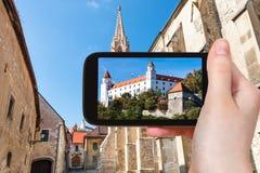Zdjęcie Bratislava kasztel od ulicy w miasteczku Zdjęcia Stock