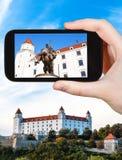 Zdjęcie statua w Bratislava Hrad kasztelu Zdjęcia Royalty Free