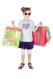 zdojest dziewczyny trochę nad zakupy biel Zdjęcia Stock