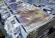 Zdojest fabrykę w srebnej tkaninie brogującej Obrazy Royalty Free