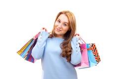 zdojest zakupy uroczej kobiety Fotografia Royalty Free