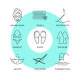 Zdrój cienkie kreskowe ikony ustawiać Zdjęcie Royalty Free