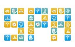 Zdrój inskrypcja z zdroju i masażu ikonami Obrazy Stock