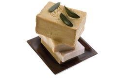 Zdrój. naturalni mydła i gałązka oliwna zdjęcia royalty free