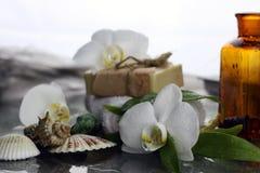 Zdrój orchidei zieleni ręcznik Obraz Royalty Free