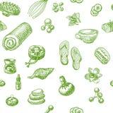 ZDRÓJ i masażu doodle wręczamy patroszonego bezszwowego wzór Zdjęcie Royalty Free