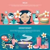 Zdroju Aromatherapy relaksu mieszkania sztandary Royalty Ilustracja