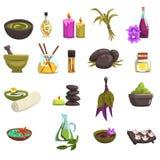Zdroju ciała i salonu opieka projektuje elementy ustawiających Olej i ziele, świeczki, morze sól, ciepli kamienie, ręcznik, kwitn ilustracja wektor