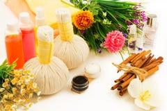 Zdroju kompresu piłki, butelki aromata olej, dekoracyjni kwiaty, cr Obrazy Royalty Free