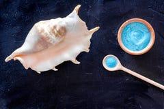 Zdroju kosmetyczny ustawiający z morze solą dla skąpania i skorupy na zmroku - błękitny tło odgórnego widoku mockup Zdjęcia Stock