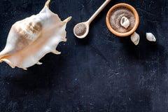 Zdroju kosmetyczny ustawiający z morze solą dla skąpania i skorupy na zmroku - błękitny tło odgórnego widoku mockup Fotografia Royalty Free