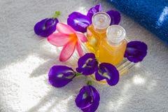 Zdroju kwiat i olej Obrazy Royalty Free