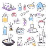 Zdroju masażu terapii traktowań ikon piękna masażu relaksu terapii kosmetyczna ziołowa ręka rysująca naturalna opieka zdrowotna Zdjęcie Stock