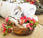 Zdroju położenie z Różowymi Pięknymi kwiatami i morze solą zdjęcie stock