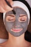 Zdroju pojęcie Młoda kobieta z odżywki twarzową maską w piękno salonie, zamyka up zdjęcie royalty free