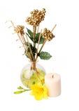 Zdroju położenie z aromata kijami, świeczką, i kwiatem Zdjęcia Royalty Free