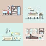 Zdroju salonu piękna sklepu izbowy wewnętrzny salowy set Li ilustracji