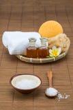 Zdroju skąpanie, solankowa puchar łyżka, ręcznikowej gąbki istotny olej i kwiat, zdjęcia royalty free