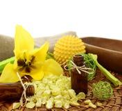 Zdroju skład kąpielowa sól, butelka i kwiat, fotografia stock