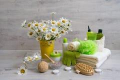 Zdroju skład z stokrotka kwiatami: kosmetyka i skąpania produkty, fotografia stock